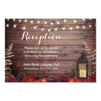 autumn leaves & lantern fall wedding reception invitation