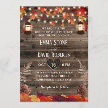 autumn leaves rustic lantern fall wedding invitation