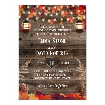 autumn leaves rustic lantern fall wedding invitation