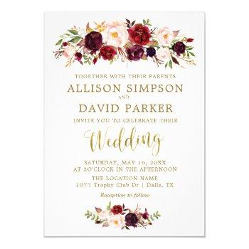 autumn marsala floral gold elegant wedding card