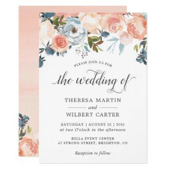 autumn peach floral calligraphy script wedding invitation