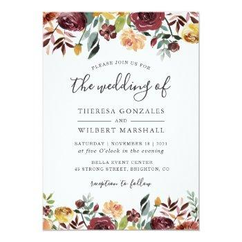 Small Autumn Red Orange Botanical Floral Fall Wedding Invitation Front View