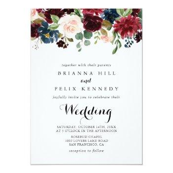 Small Autumn Rustic Burgundy Floral Front & Back Wedding Invitation Front View