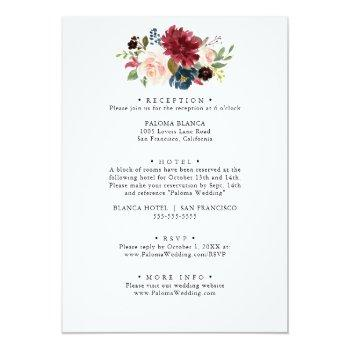 Small Autumn Rustic Burgundy Floral Front & Back Wedding Invitation Back View