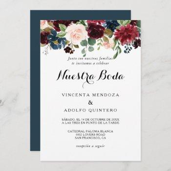 autumn rustic dazzling burgundy spanish wedding invitation