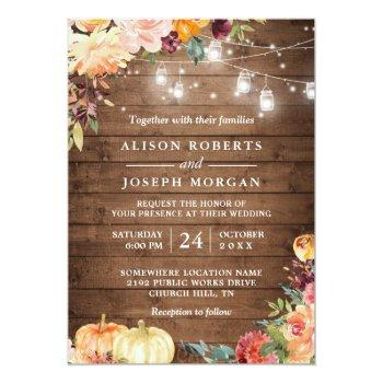 Small Autumn Rustic Floral Pumpkin String Lights Wedding Invitation Front View