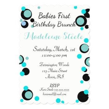 baby & co blue & black polka dot party invitation