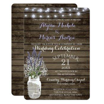 baby's breath and lavender rustic wedding invitation
