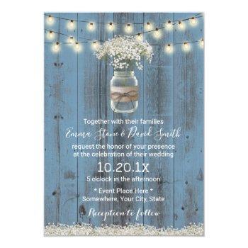 baby's breath floral dusty blue rustic wedding invitation