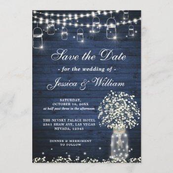 baby's breath mason jar rustic blue wood wedding invitation