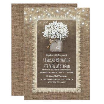 baby's breath mason jar rustic burlap lace wedding invitation