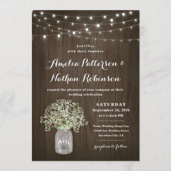 babys breath mason jar rustic fairy lights wedding invitation