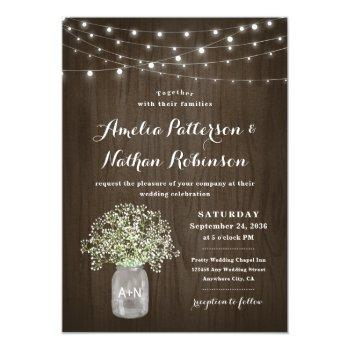 babys breath mason jar rustic fairy lights wedding invitation