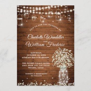 baby's breath mason jar rustic wood wedding invitation