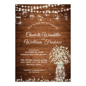 baby's breath mason jar rustic wood wedding invitation
