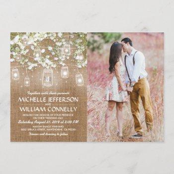 baby's breath rustic burlap photo wedding invitation