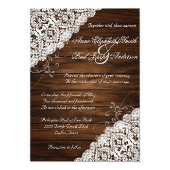 Small Barn Wood And Lace Rustic Wedding Invitations Front View