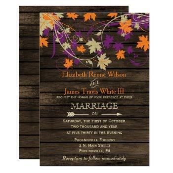 barn wood, rustic fall plum leaves wedding invitation