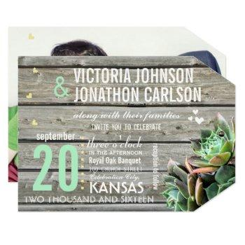 barn wood succulent modern typography wedding invitation