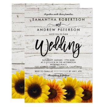 barn wood sunflowers typography rustic wedding invitation