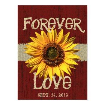 barnwood and burlap sunflower wedding invitation