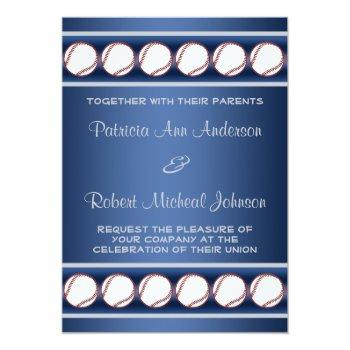 baseball ball player blue grey wedding invite 2