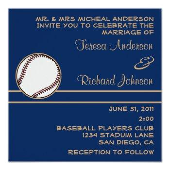baseball ball player blue wedding invitation