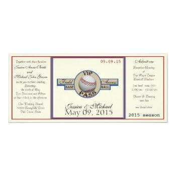baseball field pass wedding invitation