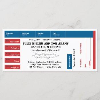 baseball game ticket wedding invite