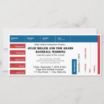 baseball game ticket wedding invite