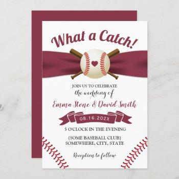 baseball love burgundy red ribbon sports wedding invitation