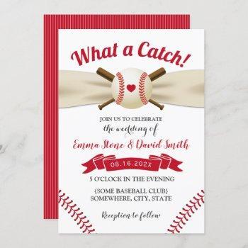 baseball love sports theme summer wedding invitation