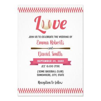 baseball love sports theme wedding invitation