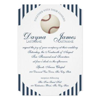 baseball park stripes wedding invitation