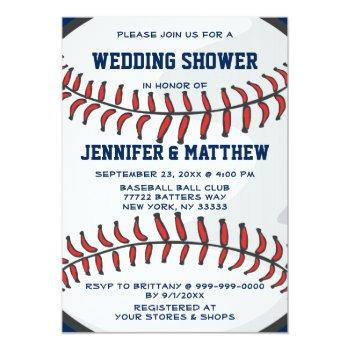 baseball sports player fan wedding shower blue invitation