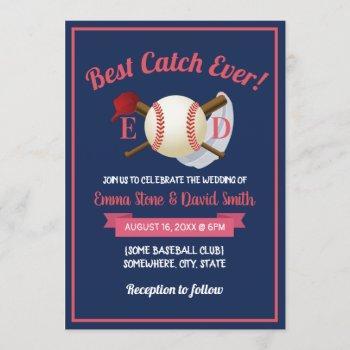 baseball sports theme navy blue wedding invitation