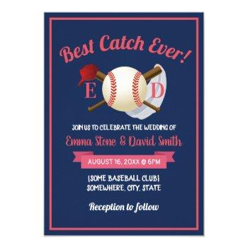baseball sports theme navy blue wedding invitation