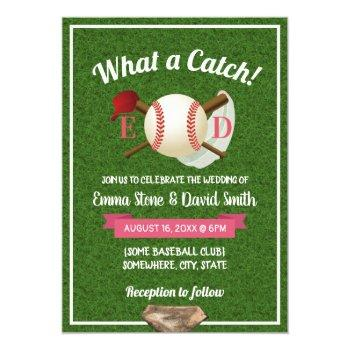 baseball theme sports wedding invitation