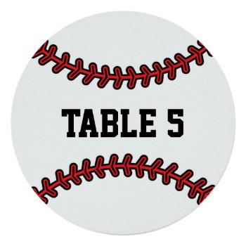 baseball wedding table number red black 2