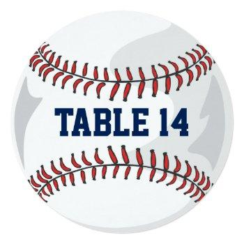 baseball wedding table number red blue grey