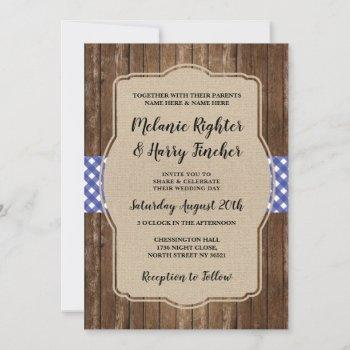 bbq wedding invite blue gingham chalk burlap