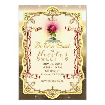 be our guest red enchanted magical red rose party invitation
