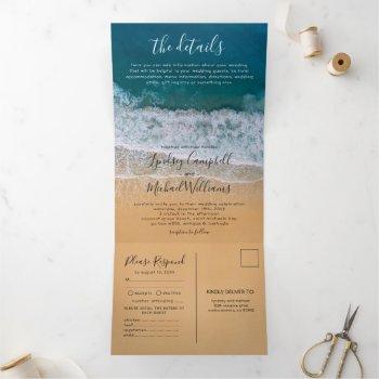 beach 3 in 1 destination wedding tri-fold invitation