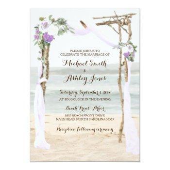 Small Beach Arbor Lavender Wedding Invitations Front View