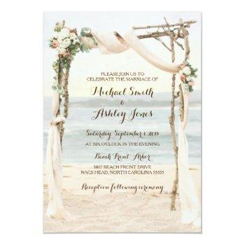 beach arbor sunset wedding invitation