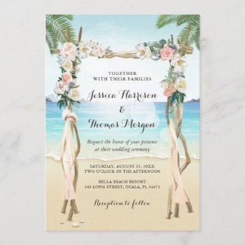 beach arbor wood arch floral tropical wedding invitation