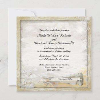 beach bottle wedding invitation