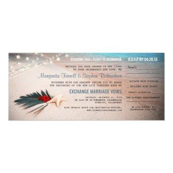 beach destination wedding boarding pass ticket invitation