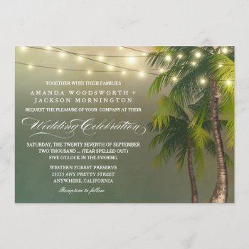 beach light palm tree tropical wedding invitations