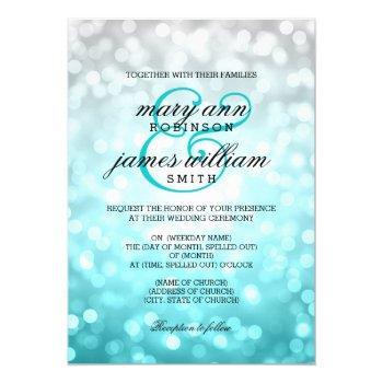 beach ombre bokeh lights elegant wedding invitation